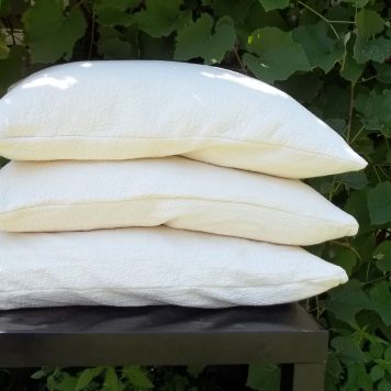 shredded natural latex pillow stack